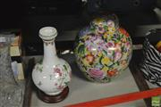 Sale 8304 - Lot 44 - Kaiser Vase on Stand With a Chinese Lidded Ginger Jar