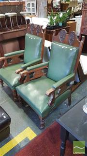 Sale 8375 - Lot 1071 - Pair of Carved Oak Club Chairs