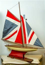 Sale 8420A - Lot 44 - A vintage style Union Jack model sail boat, condition: new, measurements: 70cm wide x 88cm high