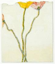 Sale 8510 - Lot 590 - Neil Evans (1951 - ) (3 works) - Poppy Stems; Ray/Gill/Memory;Untitled (Woman Walking) 5 x 5cm; 5 x 4.3cm; 2.5 x 2cm