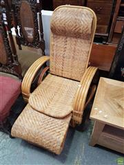 Sale 8585 - Lot 1710 - Cane Reclining Chair with Retractable Footstool