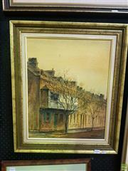 Sale 8627 - Lot 2016 - Essie Nangle - Georgian Cottages, Kent St. Sydney oil on board, 49.5 x 39.5, signed lower right