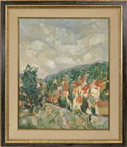 Sale 8690A - Lot 5001 - Glen Preece (1957 - ) - A Valley in Red & Green 76.5 x 60cm