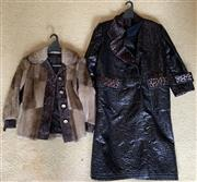 Sale 8510A - Lot 95 - A vintage Danish fur jacket together with a faux leather overcoat