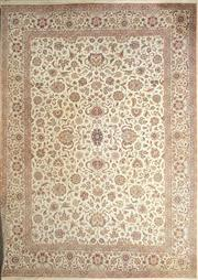 Sale 8814 - Lot 1027A - Large Indo-Persian Woll Carpet, with floral arabesques on a cream ground (430 x 308 cm)