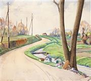 Sale 8847 - Lot 542 - Rah Fizelle (1891 - 1964) - By the Roadside 35 x 42.5cm