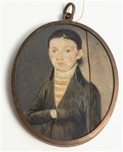 Sale 8976H - Lot 43 - A probably early C19th portrait miniature of a gentleman (cracked) Height 7cm