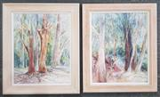 Sale 8978 - Lot 2050 - Cynthia Jackson (2 works)  Forest Scenes, watercolour, 64 x 54, each (frame), signed lower right