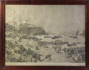 Sale 8994W - Lot 699 - An Oak Frame Landing Of The Anzacs 25th Of April 1915 Lithographic Print (85cm x 67cm)