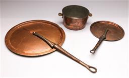 Sale 9131 - Lot 67 - Two copper lids (Dia:37.5cm and 23cm) and a pot (Dia:17cm)