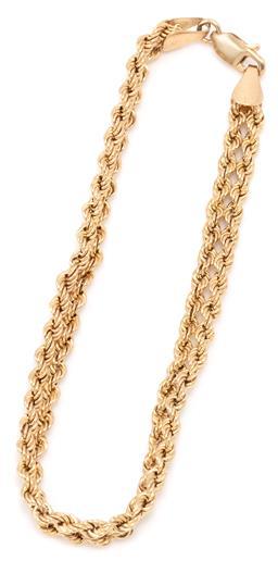 Sale 9149 - Lot 338 - A 9CT GOLD FANCY LINK BRACELET; 5.5mm wide double rose twist chain to parrot clasp, length 19cm, wt. 3.26g.
