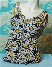 Sale 8420A - Lot 81 - A retro 1970's Miss Jantz flower bathing suit, size: 36 ,condition: good, some age spots and staining to left & right hand straps &...