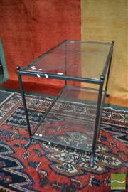 Sale 8480 - Lot 1181 - Metal Two Tier Occasional Table with Glass Shelves