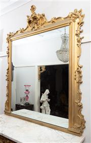 Sale 8804A - Lot 1 - A Rococo style gilt overmantel mirror, surmounted by crest Height 175cm approx Width 150cm