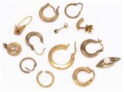 Sale 8937 - Lot 303 - A GROUP OF GOLD JEWELLERY; 18ct x 1 odd hoop earring and a finding, wt. 2.42g. 14ct x 1 pair of sleeper earrings, 1 odd earring set...