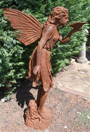 Sale 8950G - Lot 80 - A large cast iron fairy statue  1.45m Height 1m deep (back of wing to bowl)