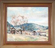 Sale 9019 - Lot 2041 - Stuart Reid (1883 - 1971) - Farmyard at Middleharbour 24.5 x 29.5 cm (frame: 34 x 40 x 2 cm)
