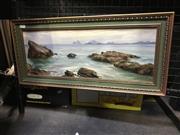 Sale 9024 - Lot 2026 - John Emmett (1927 - ) Castaway Island, Fiji oil on board, 27 x 59cm (frame) signed lower right -