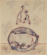 Sale 9084 - Lot 600 - Max Ernst (1891 - 1976) - Apres moi le XX siecle, 1971 29 x 25 cm (frame: 61 x 53 x 3 cm)