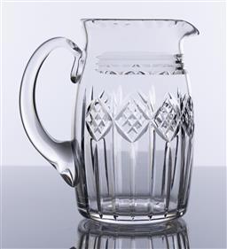 Sale 9245R - Lot 13 - A good English Webb Corbett Art Deco hand cut lead crystal jug C: 1940, Ht: 18.5cm