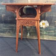 Sale 8319 - Lot 218 - Continental art nouveau, probably Belgian games table with chessboard top and two small drawers for pieces