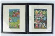 Sale 8396 - Lot 84 - Indo Persian Framed Book Plates; Gouache on Paper; H21cm x W12cm