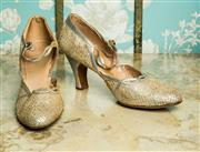 Sale 8420A - Lot 13 - A pair of 1950's vintage Harrods of London leather & lace shoes with diamante button straps, size: 5, condition: good to fair