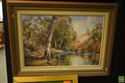 Sale 8592 - Lot 2056 - Betty Mahoney (active 1980s) - Australian Bush and River Scene, oil on board, 49.5 x 74.5cm, signed lower left