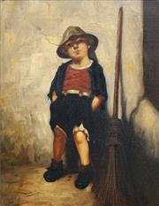 Sale 8683 - Lot 580 - Artist Unknown (C19th) - Boy Sweeper on Break 36 x 28cm