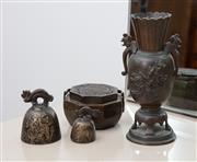 Sale 8782A - Lot 39 - A collection of four oriental bronze wares including a vase, octagonal shaped incense burner and two bells. Height of vase 16.5cm Ma...