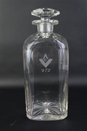 Sale 8823 - Lot 43 - Masonic Glass Decanter H:23cm