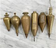 Sale 8951P - Lot 362 - Collection of 6 Various Vintage Brass Plumb Bobs (largest 15.5)