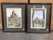 Sale 9019 - Lot 2060 - Pair of hand-coloured lithographs depicting Montreal City Landsmarks by Lazo, each 58 x 48cm (frame)