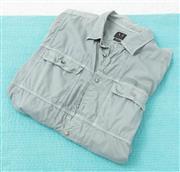Sale 9066H - Lot 83 - An Armani Exchange button up utility shirt in grey green cotton, Size XXL