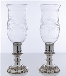Sale 9245R - Lot 14 - An excellent quality pair of English silverplate large candlesticks fitted with storm shades, each shade with a broad band of hand c...