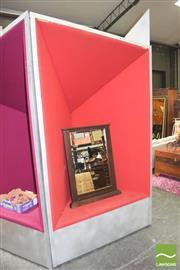 Sale 8310 - Lot 1012 - Large Metallic Framed Chair with Red Velvet Upholstery
