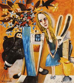 Sale 8896A - Lot 5074 - Charles Blackman (1928 - ) - Feet Beneath the Table 32 X 28.5cm (image), 53 x 42.5cm (frame)