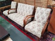 Sale 8601 - Lot 1527 - Three Piece Floral Upholstered Lounge Suite inc Two Armchairs and Two Seater