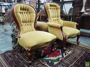 Sale 8617 - Lot 1004 - Late Victorian Walnut Gentlemans & Ladys Chairs, with buttoned gold velvet backs & cabriole legs