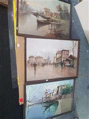 Sale 8650 - Lot 2074 - 3 European Scenes, Oils, SLR 47x67.5cm ea.