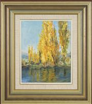 Sale 8759 - Lot 2065 - Charmian Una McGregor (1914 - 2011) - Poplars at the Hatchery, Jindabyne 24 x 19cm