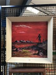 Sale 8856 - Lot 2021 - Julius Szentleleky Lone Aboriginal Hunteracrylic, 45 x 45cm (frame), signed