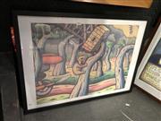 Sale 8861 - Lot 2022 - Reg Mombasa Harbour Bridge print,  52.5 x 72.5cm (frame)