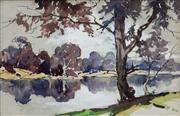 Sale 8992 - Lot 588 - Rhys Williams (1894 - 1976) - Beside The Lagoon, 1973 12.5 x 19 cm (frame: 24 x 30 x 4 cm)