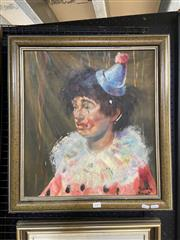 Sale 9041 - Lot 2049 - Joan Dent, The Life of a Clown, oil on board (AF - minor losses), frame: 61 x 56 cm, signed lower right