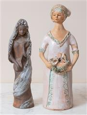 Sale 9071H - Lot 19 - Judy Chapman - Terracotta Painted figure of a lady, together with woman wearing a headdress