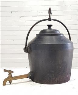 Sale 9097 - Lot 1017 - Antique Cast Iron Fireside 3 Gallon Kettle, with brass spigot, by T&C Clark & Co, Wolverhampton (h:40cm),
