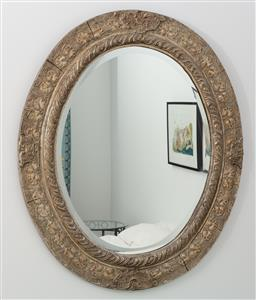 Sale 9191H - Lot 81 - Carved Oval shaped timber guilt frame bevelled edge mirror, H 100 cm