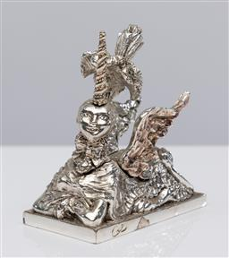 Sale 9255H - Lot 11 - A Christian Lacroix for Christofle vintage 1998 limited edition silver-plated unicorn paperweight, Height 8cm.