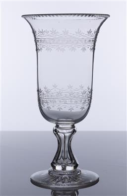 Sale 9245R - Lot 15 - A large antique hand cut and etched crystal cellery vase C: 1880, Ht: 27cm